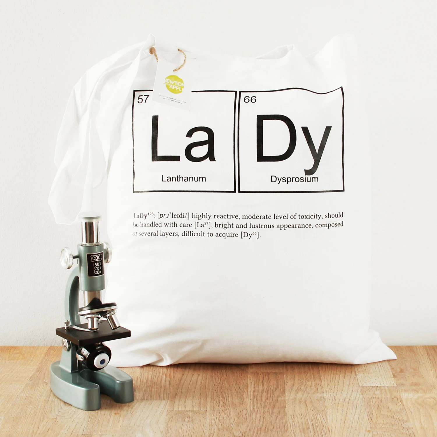 Periodic table shopping tote bag - screen printed, white 100% cotton. Scientific christmas stocking filler gift for her. Mom, Lady. Science - NewtonAndTheApple