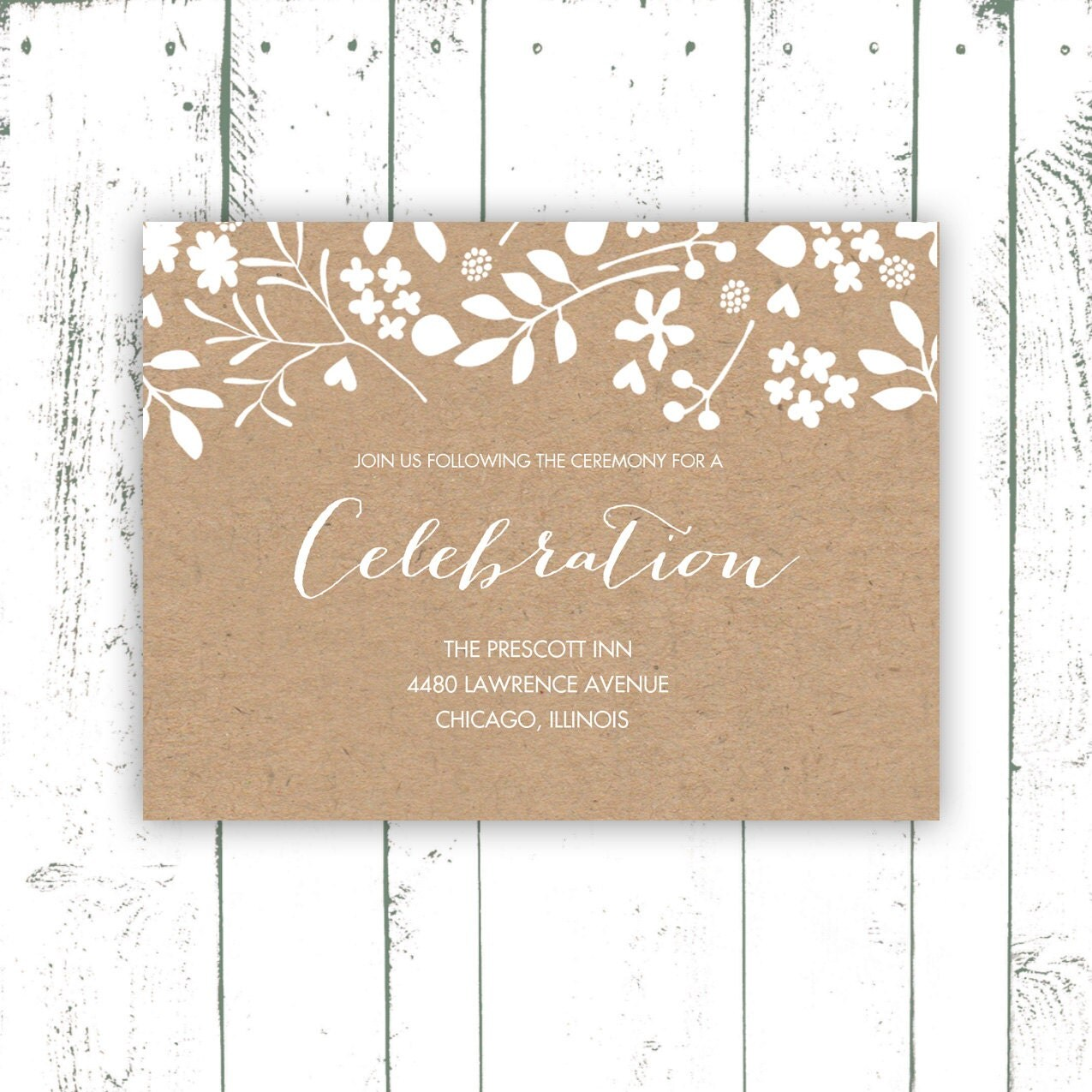 Wedding Enclosure Card Kraft Paper Enclosure Card With White Flowers Kraft Wedding Invitations