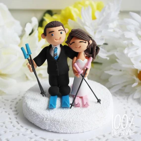 Custom Cake Topper Skiing Couple