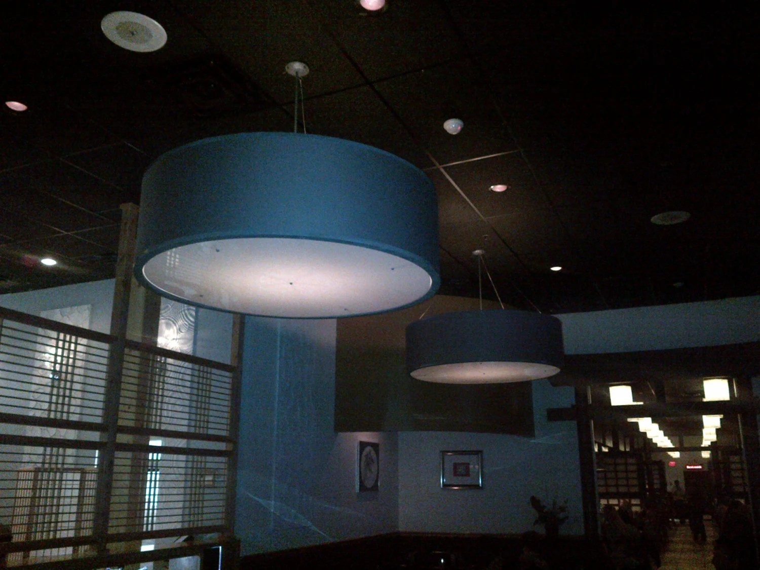 Large Fabric Drum Pendant Lights
