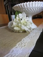 "Burlap & Lace Wedding Table Runner 10' x 18"" -Silk Ivory Lace Trim FLAWED-DISCOUNTED"