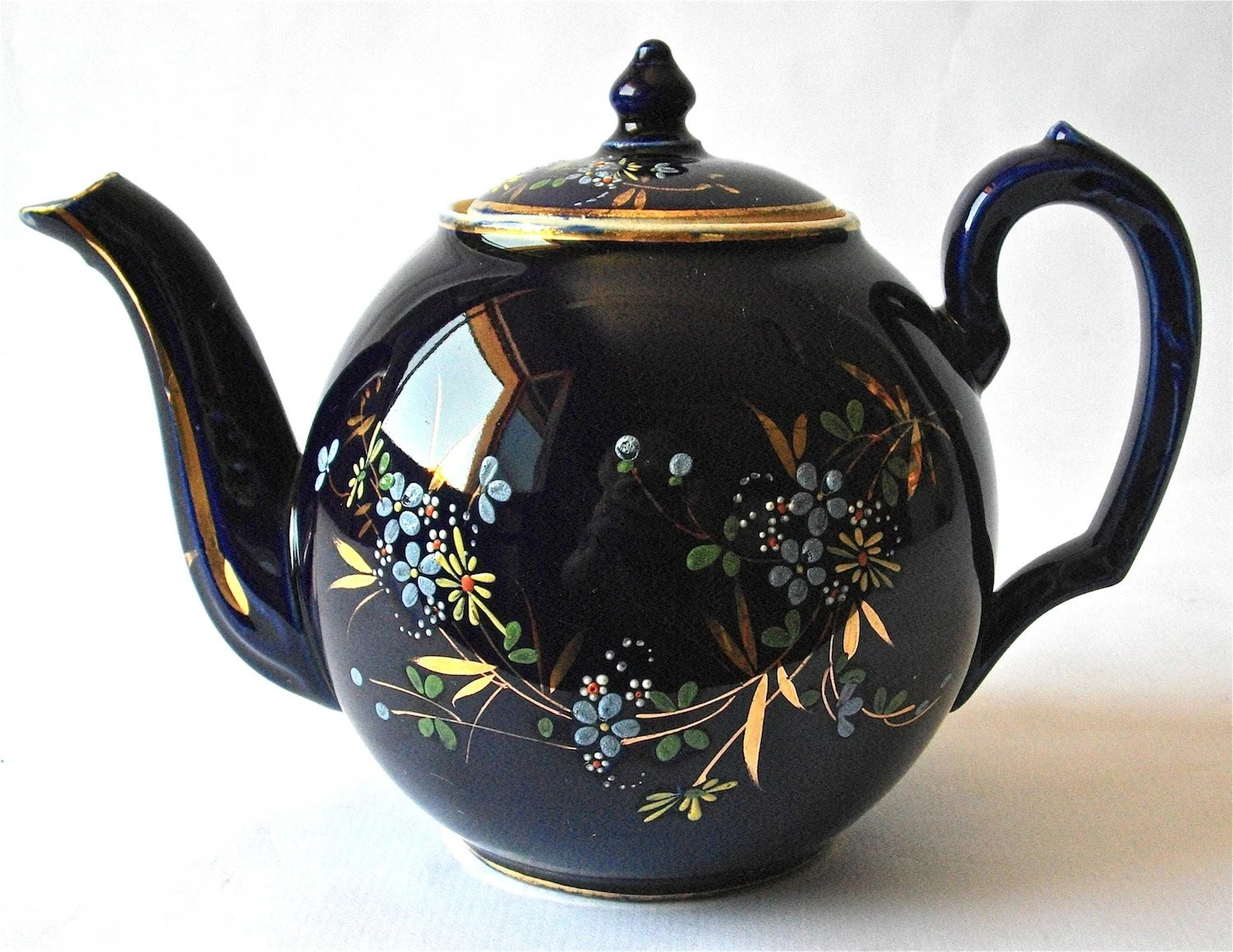 Pretty French Vintage Teapot Navy Blue Flower - In Stoneware - myfrenchycottage
