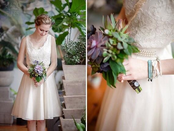 Items Similar To Short Lace Wedding Dress Backless V-neck