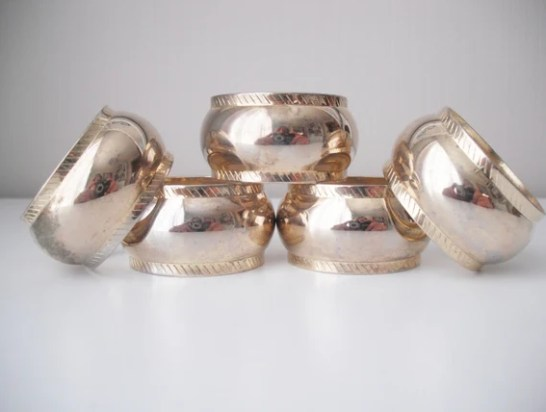 Vintage Brass Napkin Rings Set of 5