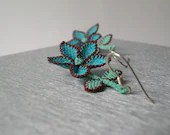 Turquoise brown jewelry, floral boho dangle earrings embroidery lace earrings cinnamon aqua blue drop botanical jewelry tatted lace jewelry - LandofDante