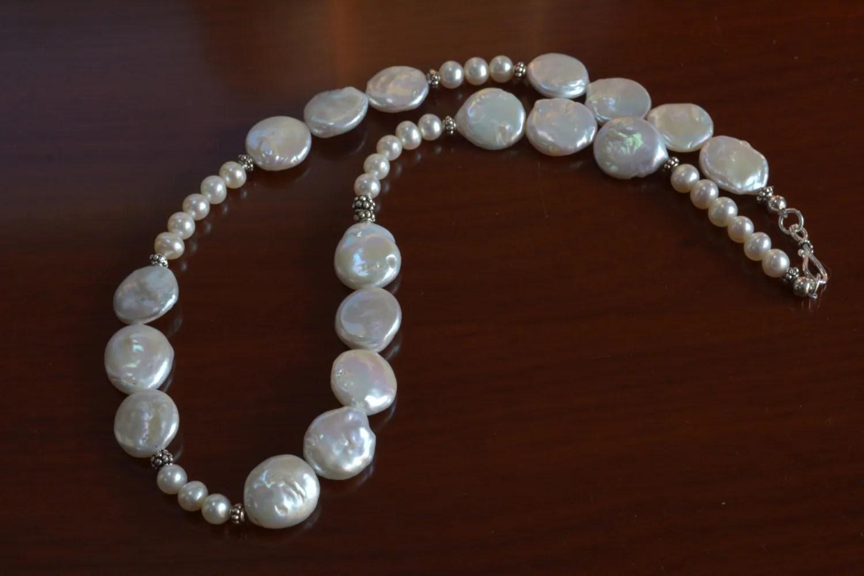 White Pearl Necklacebridal Jewelrywedding Jewelry Beaded Pearl Necklacecoin Pearl Jewelry ...