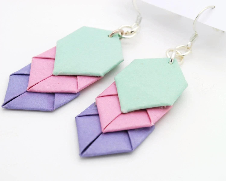 Pastel Origami Chevron Earrings - BirchHandmade