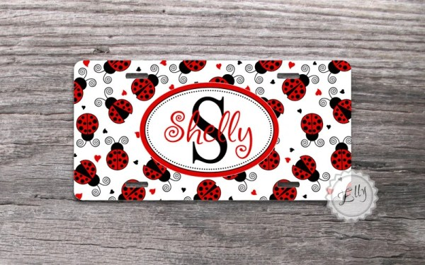 Personalized License plate Cute Red Ladybugs by MonogramCase