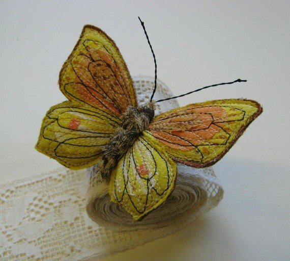 Embroidered butterfly brooch, 'Cleopatra Brimstone', textile art, soft sculpture, cottage chic