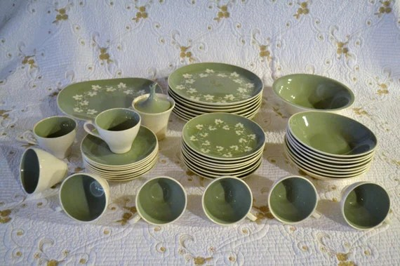 RESERVED Vintage Harkerware Ivy Wreath Dinnerware Service