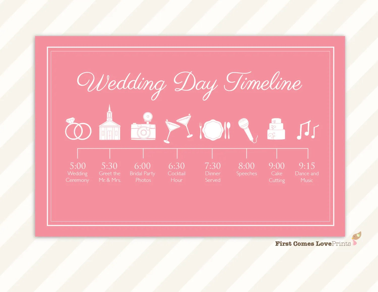 Wedding Day Schedule Of Events Itinerary For Guests Big