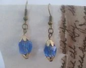Vintage recrafted dangle earrings/pierced.