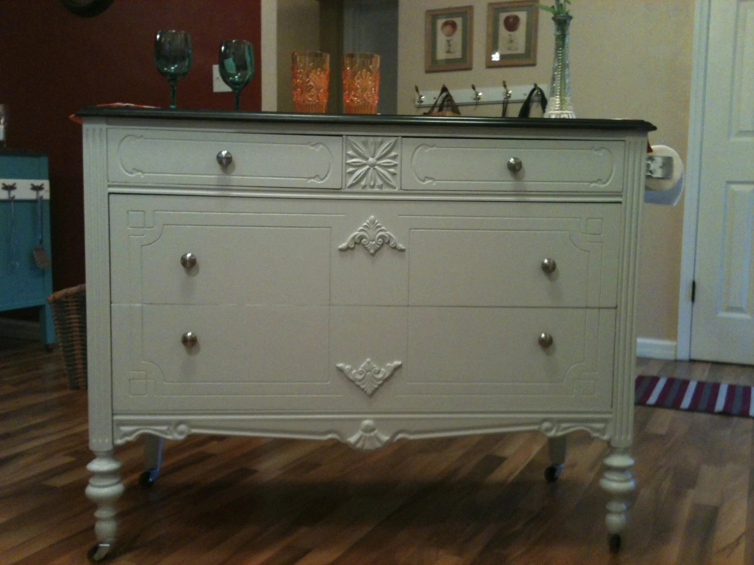 SOLD Kitchen Island Made From Vintage Dresser Upcycled