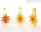 Decorative wooden pegs - set of 3 quilling floral