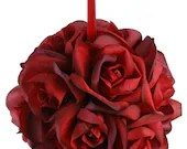 Garden Rose Kissing Ball - Red - 6 inch Pomander - seanmooney1