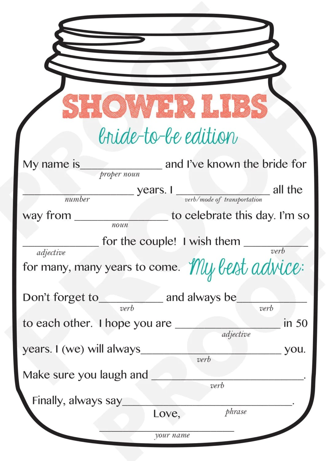 Bridal Shower Game Mason Jar Theme Shower Game Mad Libs For