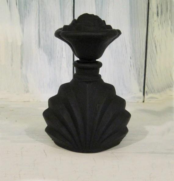 Vintage Black Rose Glass Perfume Bottle By HTArtcraftAndVintage