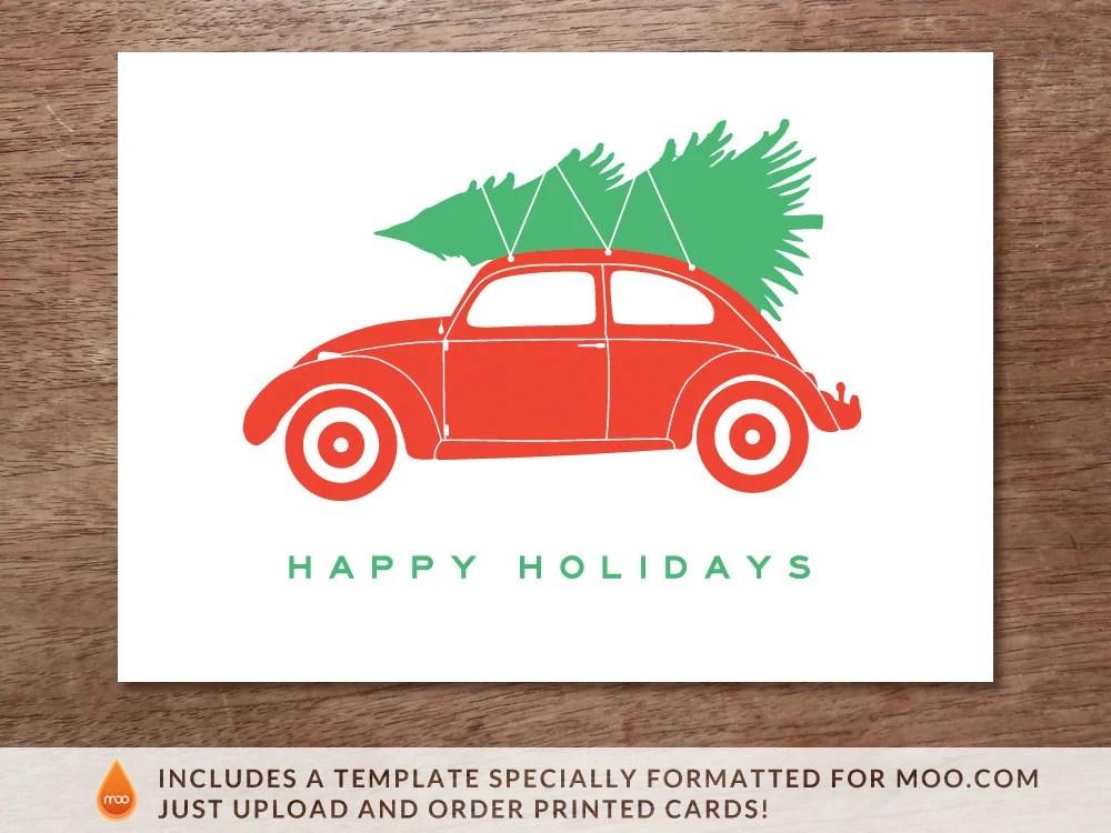Printable Christmas Card Christmas Beetle Volkswagen Bug