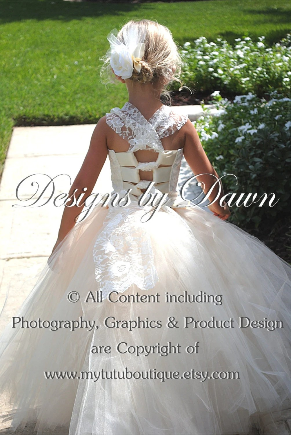 This is a private order listing for abbeycrow – October 1 – Ivory flower girl dress with lace by mytutuboutique