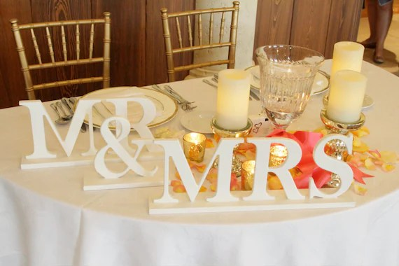 Mr And Mrs Sign For Wedding Wedding Sign Table By