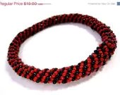 HALF OFF Red and Black Sprial Rocker Bangle Bracelet - MegansBeadedDesigns