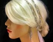 Wedding Headband, Crystal Rhinestone Double Strand Bridal Tiara, Tie on Headband, Ivory, White, Silver, Black or Champagne Ribbon, Headpiece