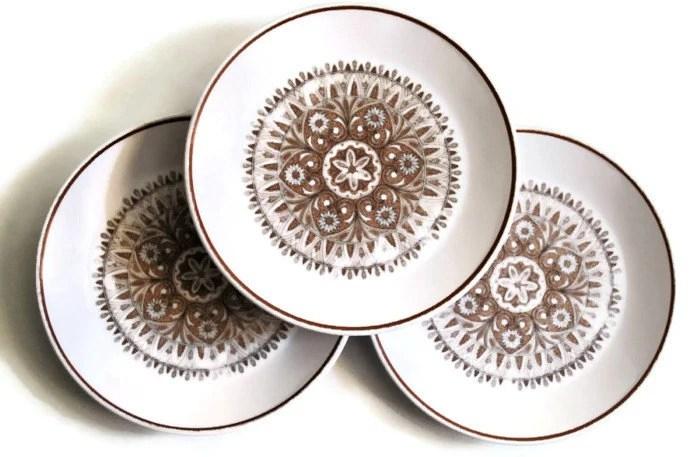 3x Noritake Progression China Small Plates - Unique Design - kazzycaboodles