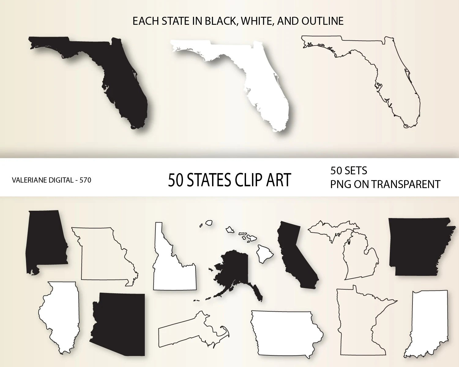 Us States Clip Art 50 States Clipart Usa Map Printable