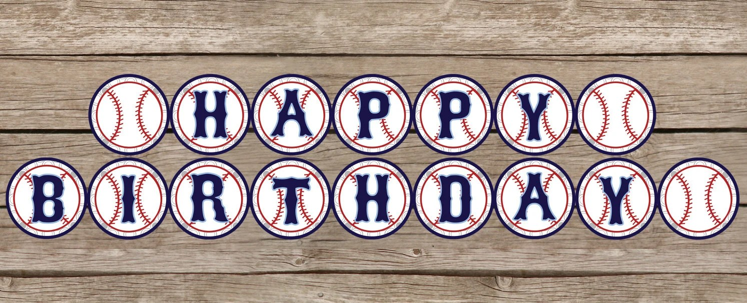 INSTANT DOWNLOAD Baseball Happy Birthday Banner By FourteenWest