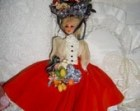 Vintage Nicole Hard Plastic Doll Layered Dress Headress