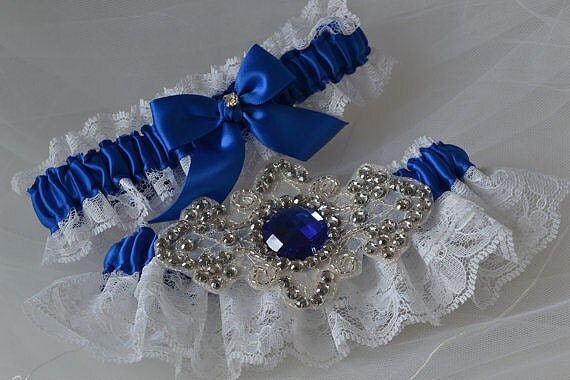 Wedding Garter Set Royal Blue And White Raschel Lace With