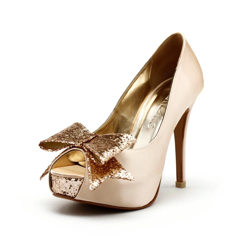Champagne Wedding Heels, Champagne Gold Wedding Shoes with Glitter,  Gold Glitter Wedding Heels, Champagne Gold Wedding Shoes - ChristyNgShoes