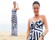 White Navy blue striped Strapless  long maxi dress sun evening all size - Onumadress