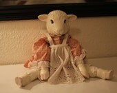 1950s Unique Vintage Ceramic & Fabric Lamb Doll - backinloveagain