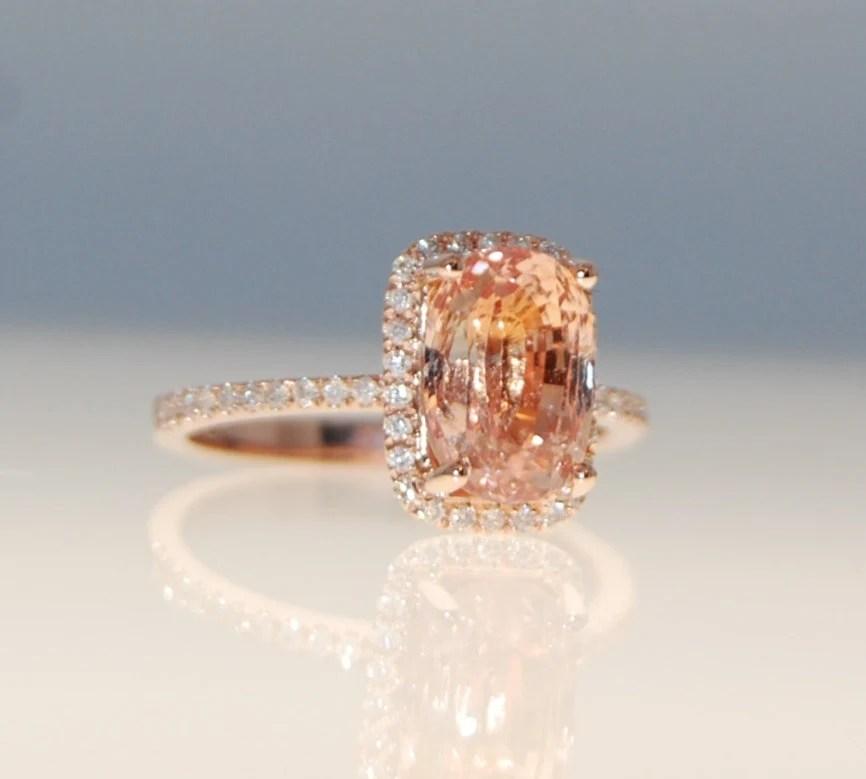 36ct Cushion Ginger Peach Sapphire Champagne Sapphire Ring