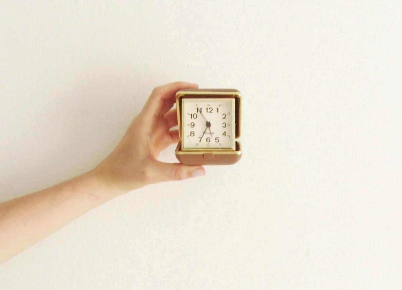 pop up westclox travel alarm . glow in the dark clock .sale s a l e - DOTTO