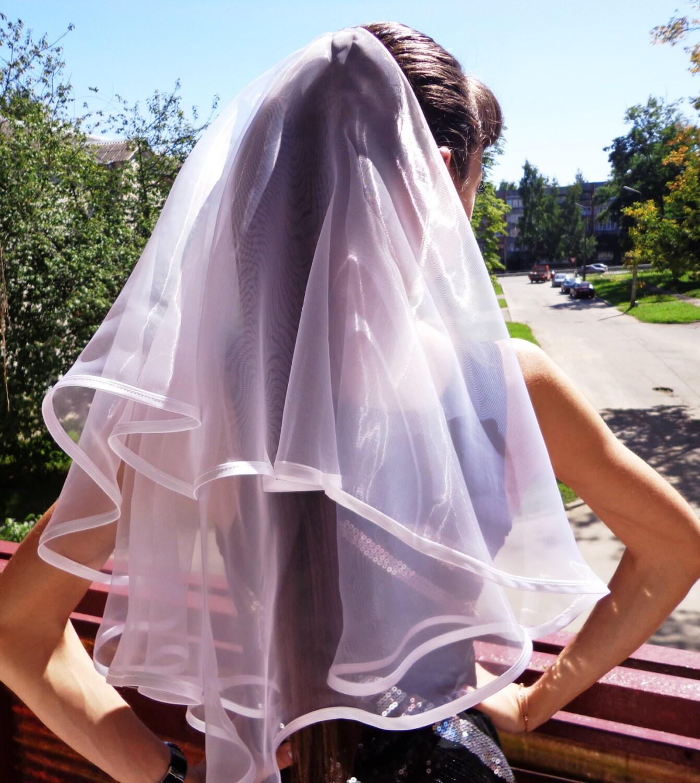 Bachelorette Party Veil 2 Tier White Long Length Bridal