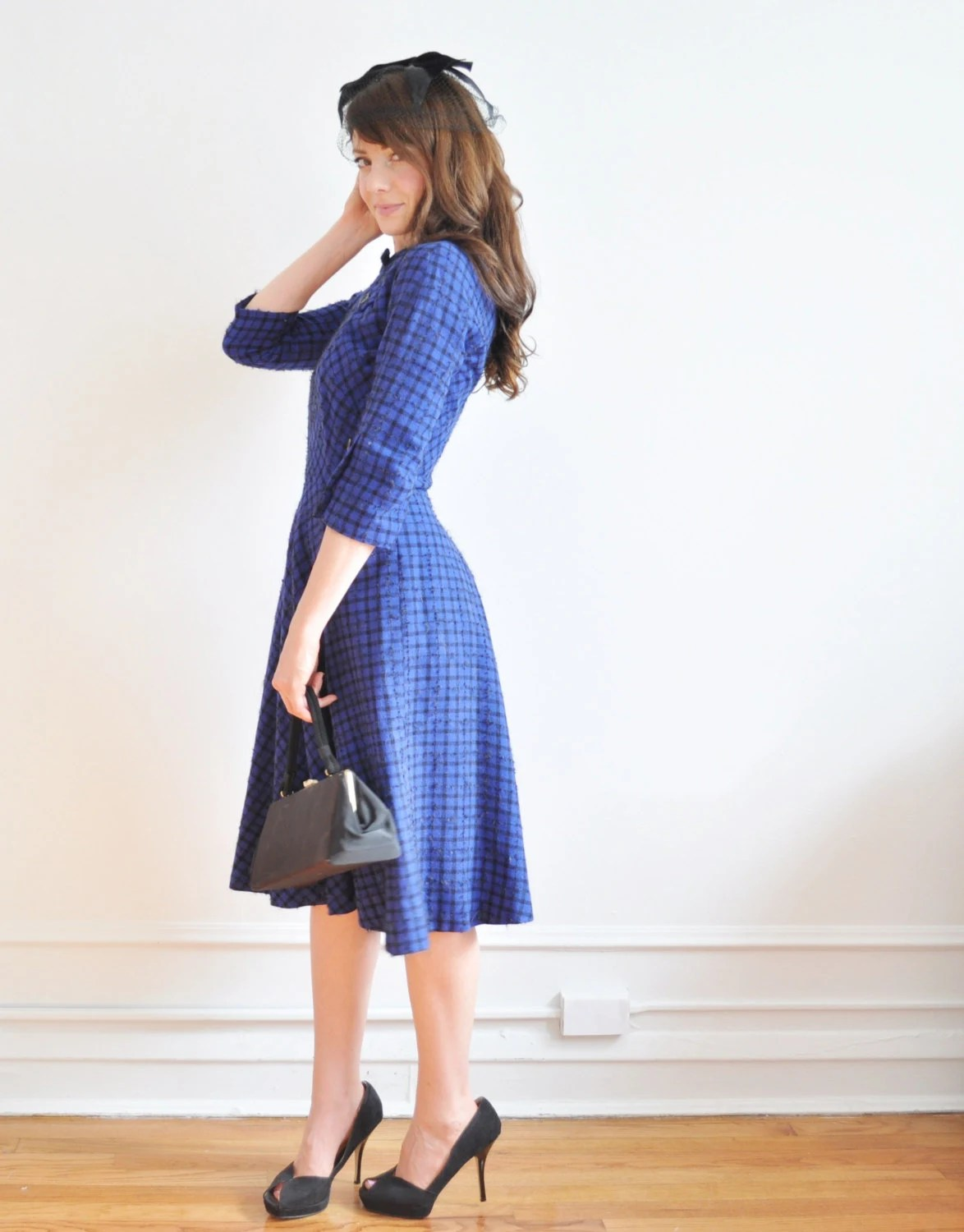 sapphire blue 1950 dress and cardigan . mid century two piece wool set .small - DOTTO