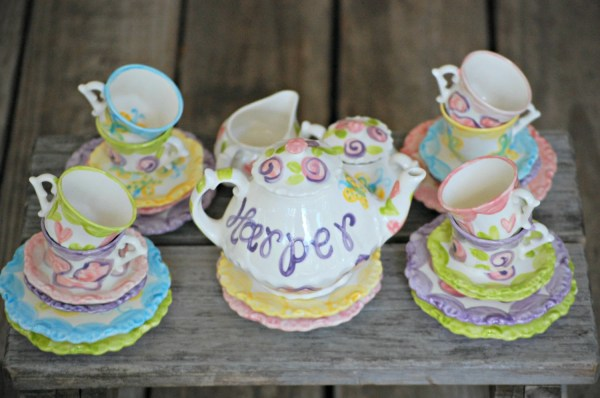 Girls Personalized Tea Set Whimsical MixNMatch by