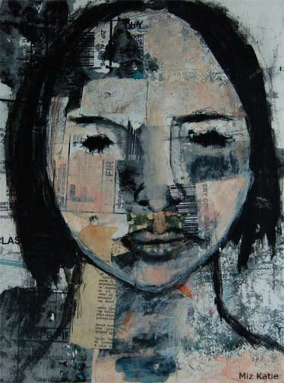 Acrylic Portrait Collage Painting 9x12 Original, Mixed Media, Woman, Black and White, Neutral, Muted Colors