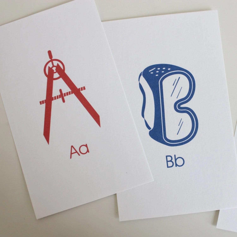 Toolbox Alphabet Flash Cards 3x5 Printable Blue Red