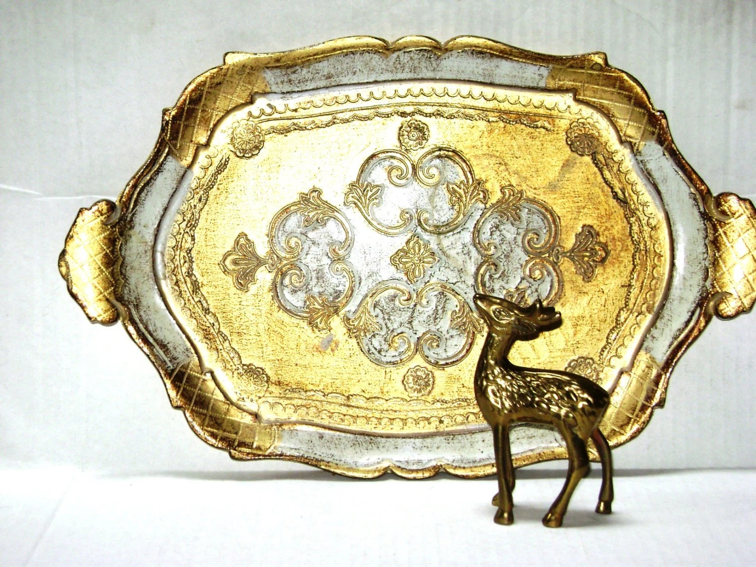 Vintage Florentine Tray Gold And Ecru Made In Italy Oval