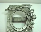 50% OFF Vintage Photo Pin Pewter Photograph Holder  JJ Brooch Pin Grandma Photo Frame Signed - wallstantiques