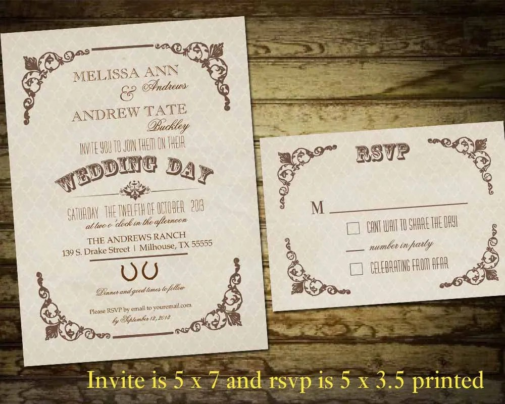 Country Western Wedding Invitations