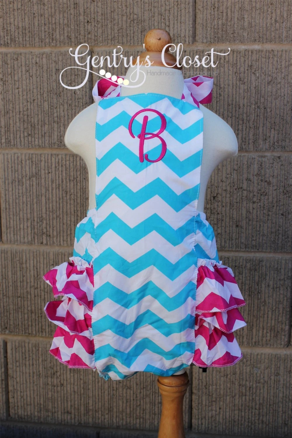 SALE Baby Girl Blue And Pink Chevron Sunsuit By GentrysCloset