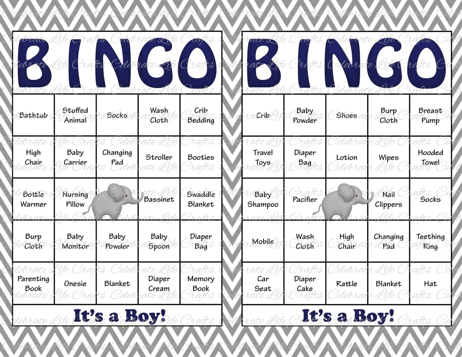 30 Baby Shower Bingo Cards Printable Baby Boy Instant