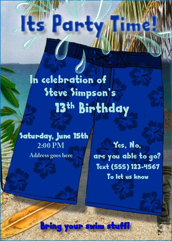 Print Home Birthday Party Invitations