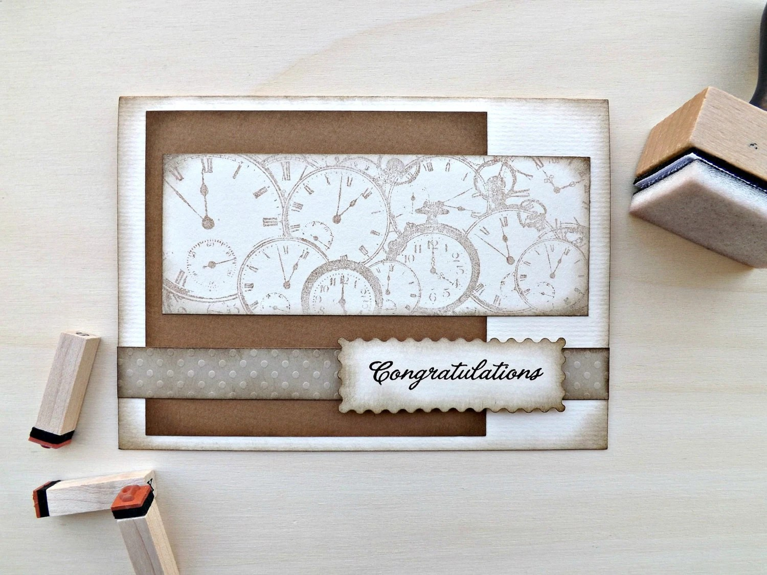 CONGRATULATIONS CARD Handmade Graduation card Greeting cards Watches Brown Paper