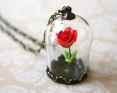 Beauty and the Beast - Enchanted Red Rose Necklace - Glass Terrarium Captured Rose - apocketofwhimsy