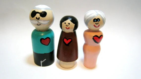 Peg People Dolls Grandparents and Granddaughter Peg Family